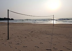 Empty beach would be perfect to play volleyball
