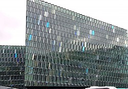 The Harpa, with its facade resembling fish scales