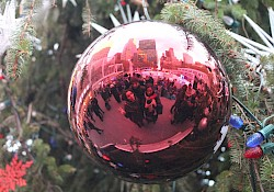Chistmas balls in Bryant Park