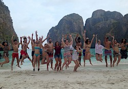 "Obligatory jumping picture à la ""The beach"" style before saying goodby to Maya bay"